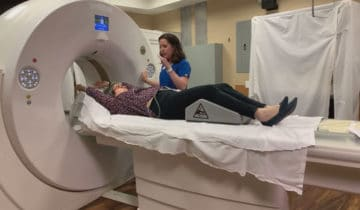 Julia Austin gets a CT calcium scoring with technologist Tabatha Weber copy